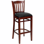wood vertical back barstool