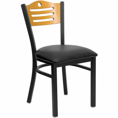 black metal slat back chair