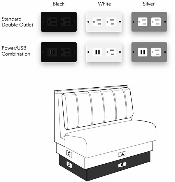 Power Outlets for Booth Seating Restaurants