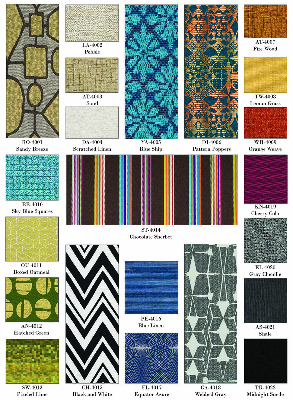 SIMS Booth Seating Fabric Selections