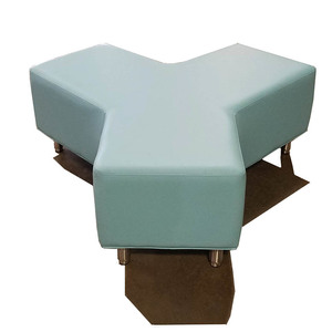 Y Shaped Ottoman with Metal Legs